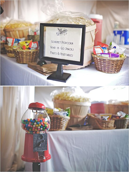 wedding snack table - an inexpensive and easy way to make sure your guests don't go hungry while you do pictures :)