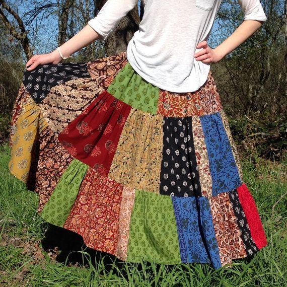 Patchwork de la jupe pour toutes les tailles, jupe fait sur mesure, fait à la main, jupe juniors, womens jupe, plus jupe taille, jupe unisexe, imprime indien
