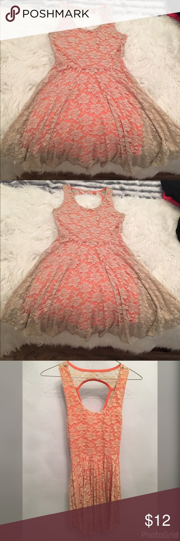 Summer tan lace dress with orange coverup🍊 This dress is great for summer and too stay cool and look cute at the same time it's very casual but nice enough for a romantic date at the beach 🌊The fabric is lace on the outer part and the lace is a tanish color while the interior part of the dress is orange it's cute can on the back of the dress has a open back design!!! True to size and in very good condition no stains or torns appear on the dress either!!! NO TRADES🚫❌. NO LOWBALLS or…