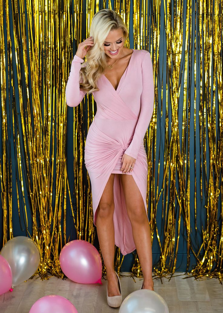 Wrap Me In Love High Low Bodycon Dress Dusty Pink - Modern Vintage Boutique
