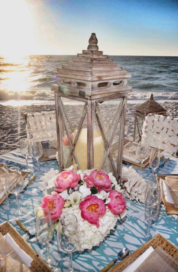 30 best charleston sc beach wedding ideas images on pinterest we love this rustic beach reception set up with a lantern and classic bouquet as junglespirit Image collections