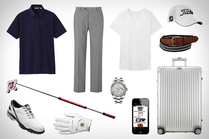 Uniqlo Dry Shirt Collar Polo ($20). Uniqlo Dry Flat Front Pants ($40). Titleist Scotty Cameron Futura X Prototype Putter ($TBA).  Rolex Sky-Dweller Watch ($48,000).  Uniqlo Stretch Taple Belt ($13). Uniqlo Airism V-Neck T-Shirt ($15).  iPhone 5 ($200+).  FootJoy StaSof Glove ($20). FootJoy FJ Sport Shoes ($85). Titleist Mesh Cap ($20). Rimowa Topas Suitcase ($1,160).