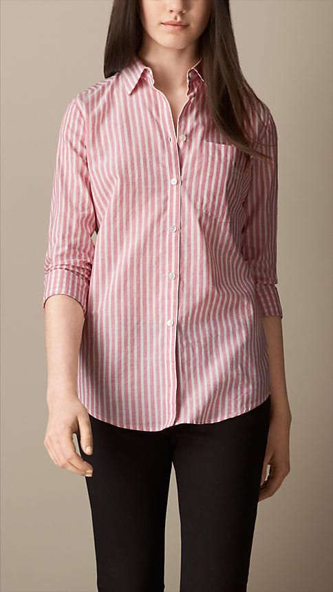 Striped Cotton Linen Shirt | Burberry