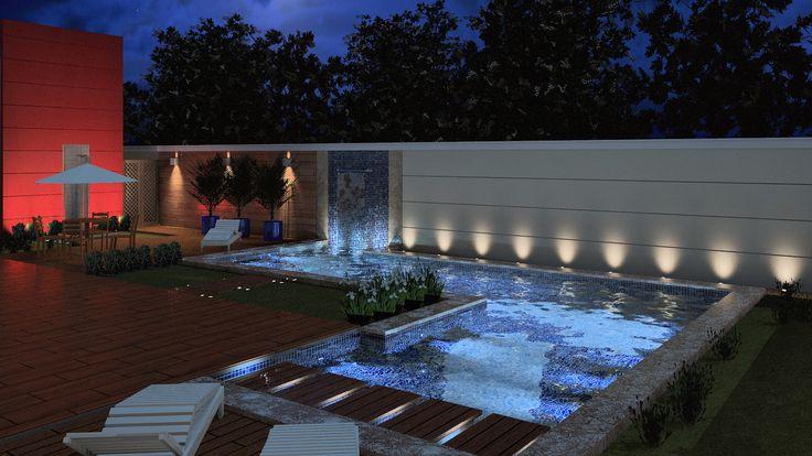 """51 piscinas para curtir o verão - Casa - O formato da piscina em """"L"""" foi escolhido pela arquiteta Bárbara Lisboa para integrar a área de lazer, varanda e churrasqueira. Fornecida pela Jacuzzi, a piscina é feita de concreto armado, com pastilhas Atlas nas cores guarujá e juqueí. As bordas são formadas por pisos Bravo Bianco, da Portobello. Ao todo, o espaço tem 48 m², com 1,4 m de profundidade."""