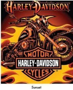 Harley Davidson Motorcycles Sunset Plush Queen Throw Blanket 76 x94 l