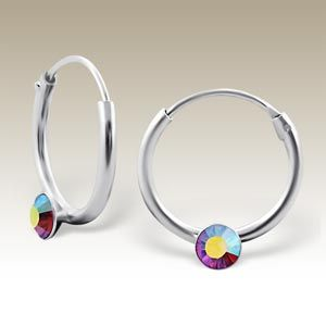#Silver ear #hoops with ab crystal stones - CR1.2X12-ES04 AB/18846m, made in #Thailand