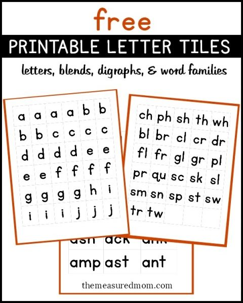 Free printable letter tiles for digraphs, blends, and word ...