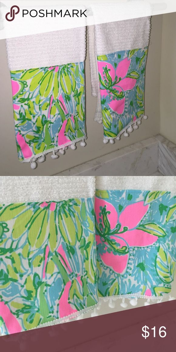 Lilly Pulitzer Fabric Housewarming Towels...sale! Set of 2...brand new handmade with coconut jungle fabric and pompoms Other