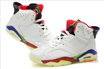 Glow Dark Jordan 6 Basketball Shoes - Black Red and White Blue - Olympic Edition