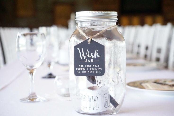 Wish jar for wedding reception.