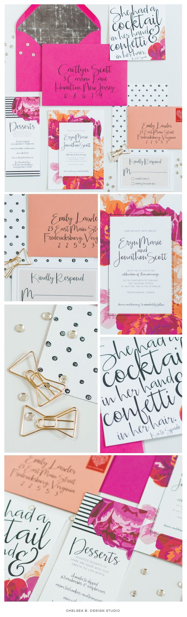 chelsea b design studio kate spade wedding invitation polka dots and florals digital - Kate Spade Wedding Invitations