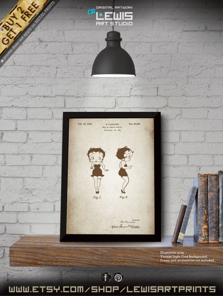 Betty Boop poster, Betty Boop patent, Betty Boop print, Betty Boop Art, Betty Boop Wall Hangings no111