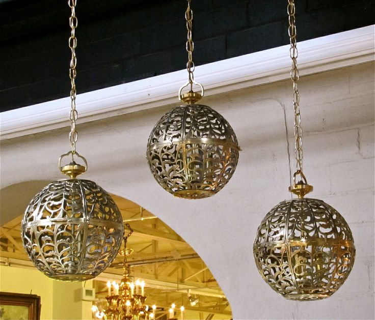 Trio Large Pierced Brass Asian Ceiling Light Pendants | From a unique collection of antique and modern chandeliers and pendants  at http://www.1stdibs.com/furniture/lighting/chandeliers-pendant-lights/