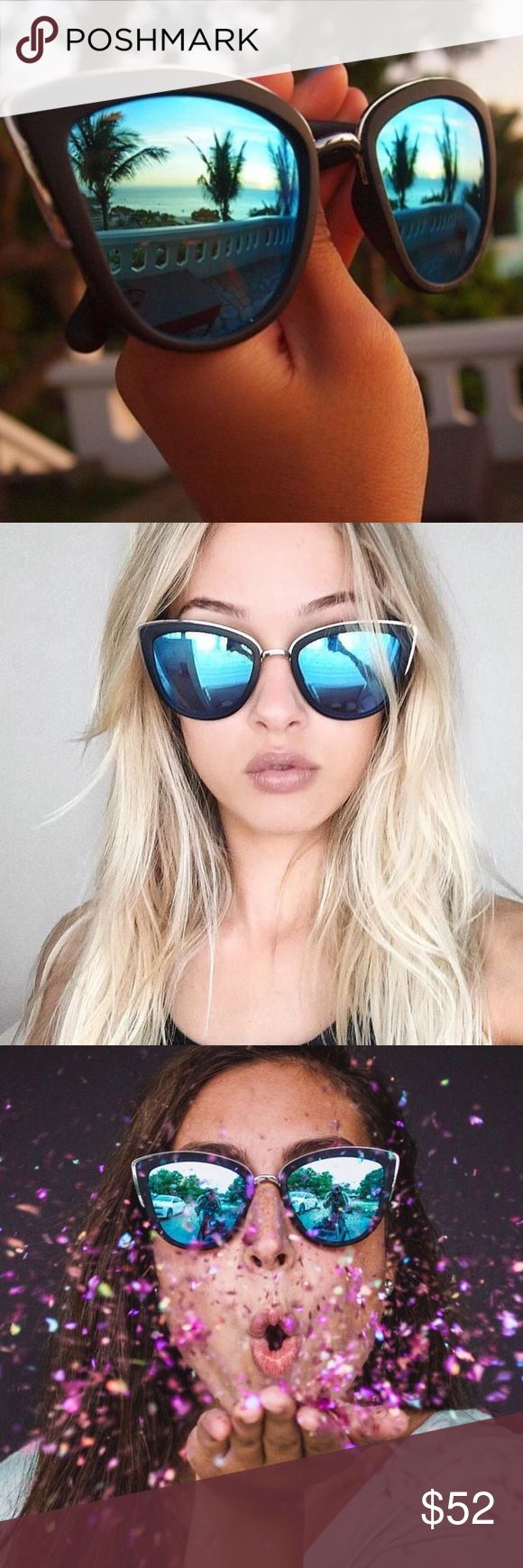 Quay Australia My Girl Sunglasses Blue My Girl sunnies from the innovative hip brand QUAY Australia! These sunglasses have been seen on celebs and the top Instagram models of all time! Shay Mitchell is just one of many who love this style from Quay! Perfect for your next trip to Mexico, or the next music festival. With the blue reflective glass, and super smooth matte black trim you'll be wearing these black and blue Quay sunnies again and again! Quay Australia Accessories Glasses