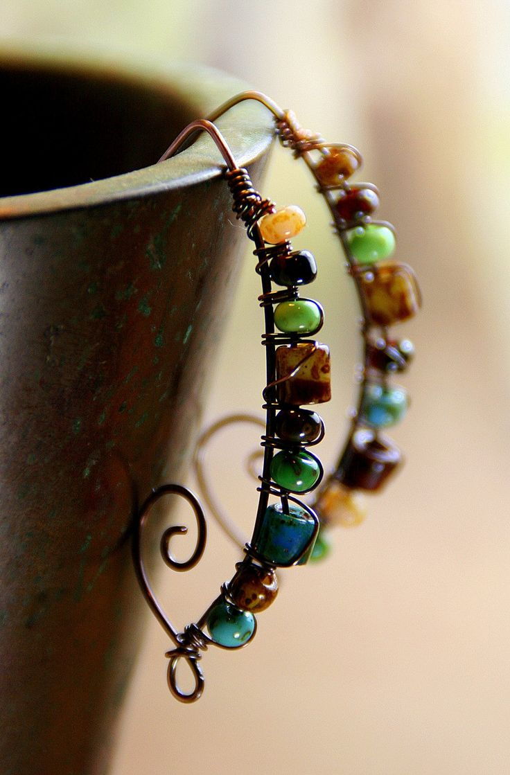 Tropical Mix Picasso Beads Stacked on Hammered Copper ...