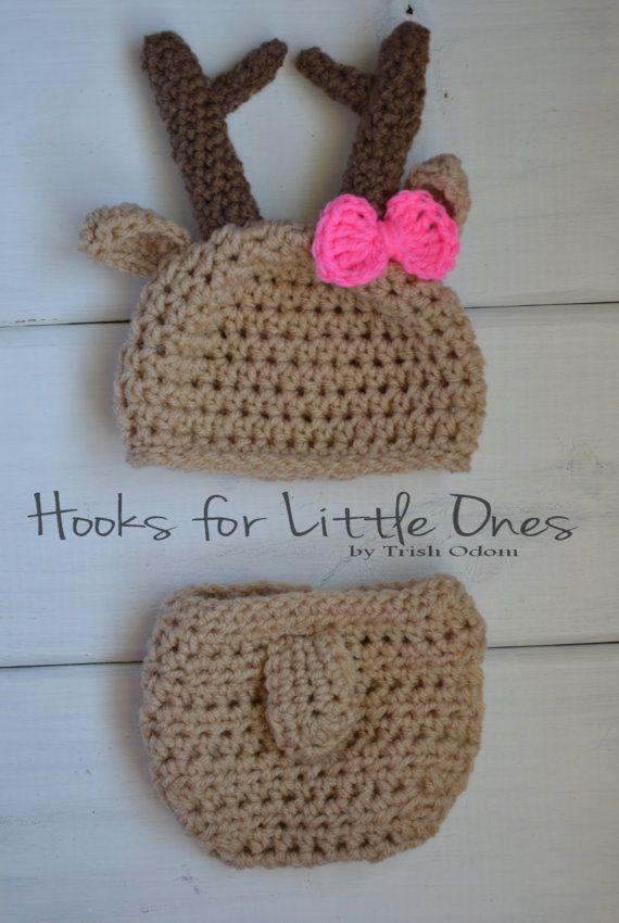 Crochet Deer hat and diaper cover by Hooksforlittleones on Etsy, $13.00
