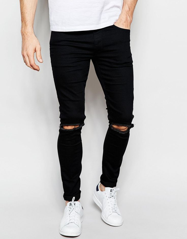 ASOS+Extreme+Super+Skinny+Jeans+With+Knee+Rips