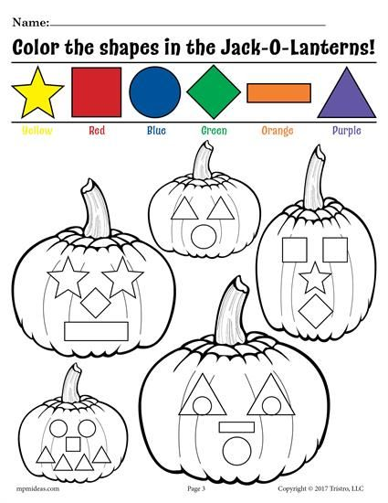 Pumpkin Preschool Shapes Coloring Page & Shapes Worksheet