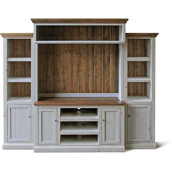 Entertainment Center Media Console Home Theater Reclaimed Wood Tv... ($1,895) ❤ liked on Polyvore featuring home, furniture, storage & shelves, entertainment units, console tables & cabinets, grey, home & living, living room furniture, 2 tier shelf and door shelves