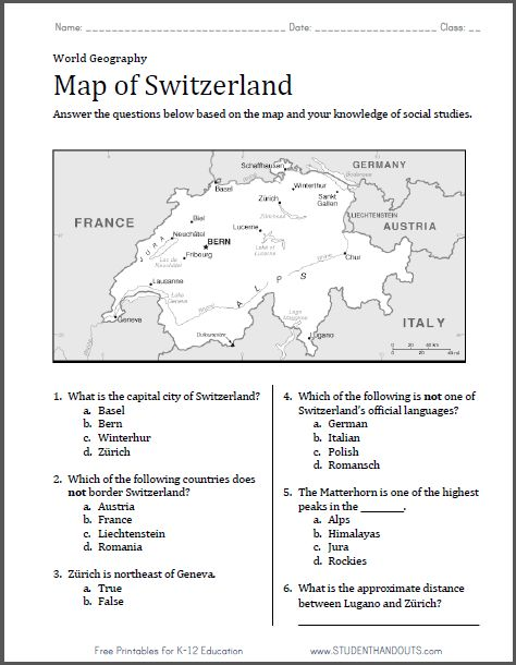 switzerland map worksheet free to print pdf file with six questions world history. Black Bedroom Furniture Sets. Home Design Ideas