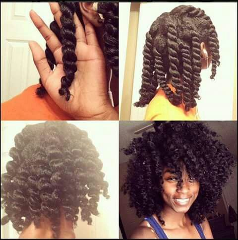 Chunky twist out.