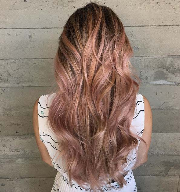 Rose gold balayage by Lizbeth
