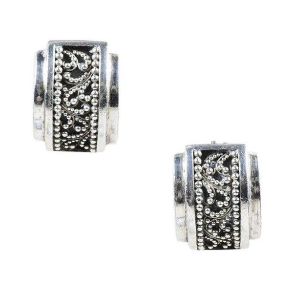 Pre-owned Lois Hill Sterling Silver Baroque Beaded Clip On Huggie... ($60) ❤ liked on Polyvore featuring jewelry, earrings, baroque earrings, oxidized jewelry, oxidised jewelry, beaded jewelry and oxidized earrings