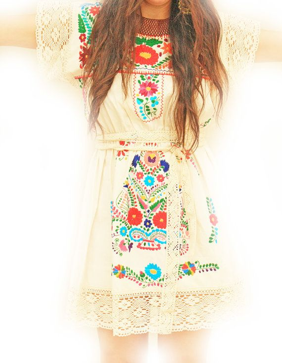 Mexican+embroidered+crochet+dress+floral+bohemian+by+AidaCoronado,+$240.00