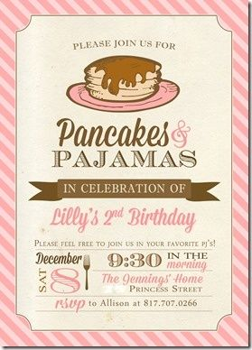 Super cute idea Pancakes & pajamas | http://awesome-party-ideas-collections.blogspot.com