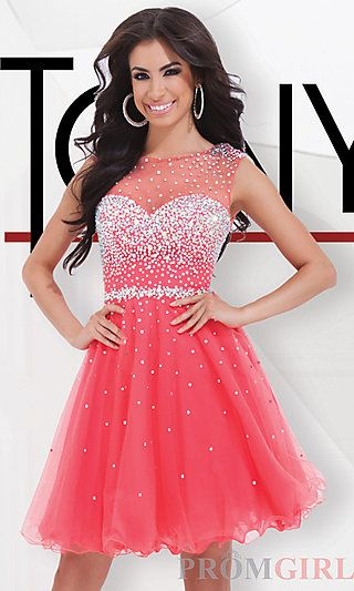 Short Tony Bowls Dress with Illusion Neckline at PromGirl.com