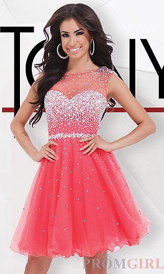 Short Tony Bowls Dress with Illusion Neckline at PromGirl.com