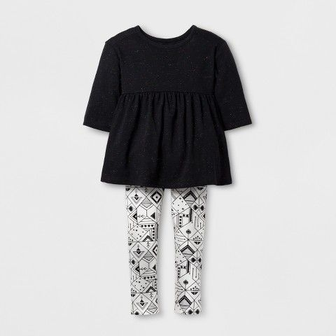 Cat & Jack Toddler Girls' Top And Bottom Set Black