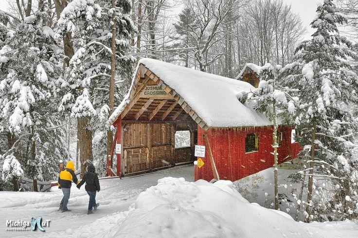 Winter Walk - Loonsong Covered Bridge - Michigan