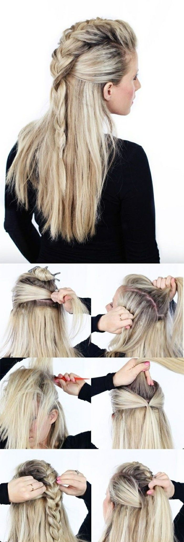 fast-hairstyles-medium-length-blonde-smooth-hair-plait-fudge-hair hairstyle-selb