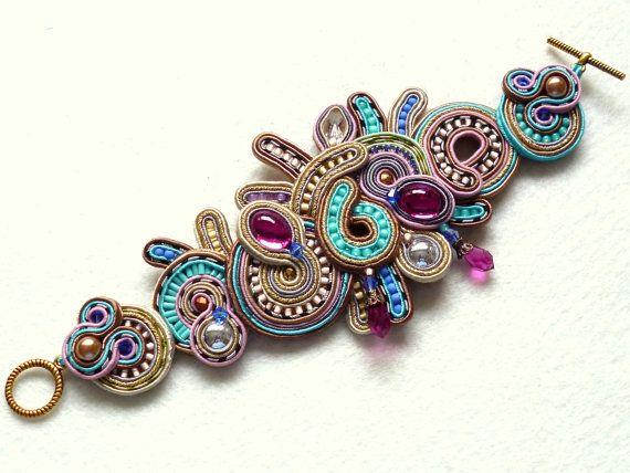 Soutache Bracelet Multicolor Swarovski Elegant Ethno por KCSoutache
