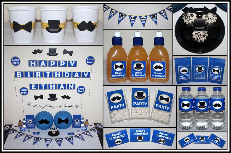 Little Man Moustache Bow Tie Top Hat Personalised Birthday Party Decorations Supplies Packs Shop Online Australia Banners Bunting Wall Display Cupcake Toppers Chocolate Wrappers Juice Water Pop Top Labels Posters Lanterns Invites Cup Stickers Ideas Inspiration Cake Table Katie J Design and Events First 1st Birthday Baby Shower Blue Gold Glitter