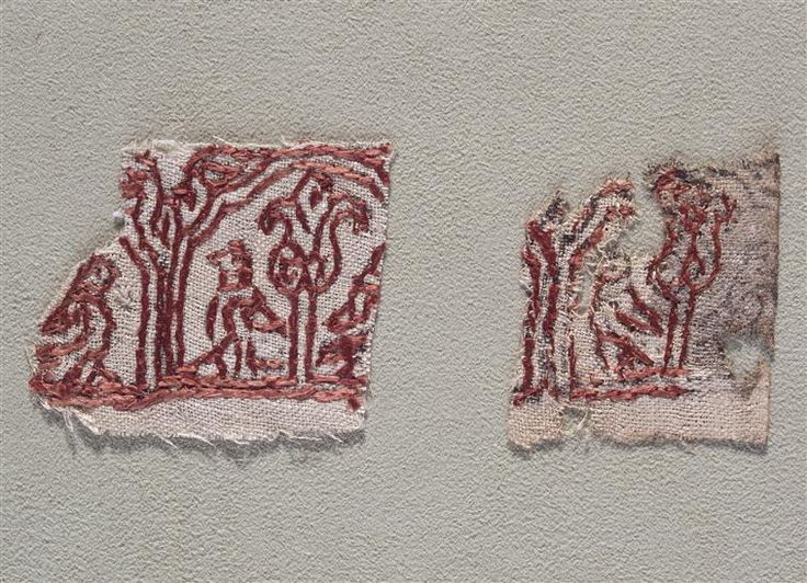 12th century embroidery scraps. Linen cloth, silk embroidery floss. Possibly originating in Spain or Istanbul.