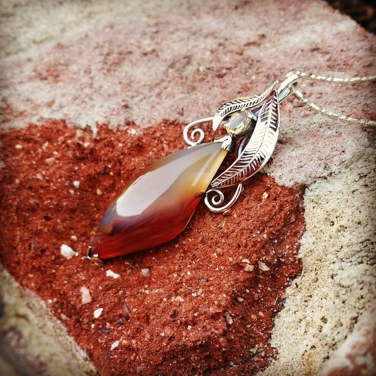 Adorned By Sally Sterling silver pendant set with a brown Agate and oval Citrine $260