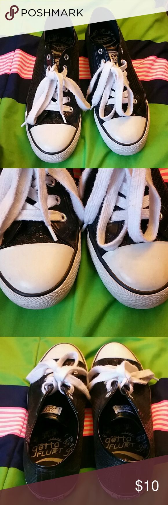 Converse style black & white sequin sneakers Gotta Flurt brand converse style lace up shoes. Black sequins on black part of shoe. Worn a few times but still great condition. See sizing on inside of tongue (see pic). Shoes are more for narrow feet. Gotta Flurt Shoes Sneakers