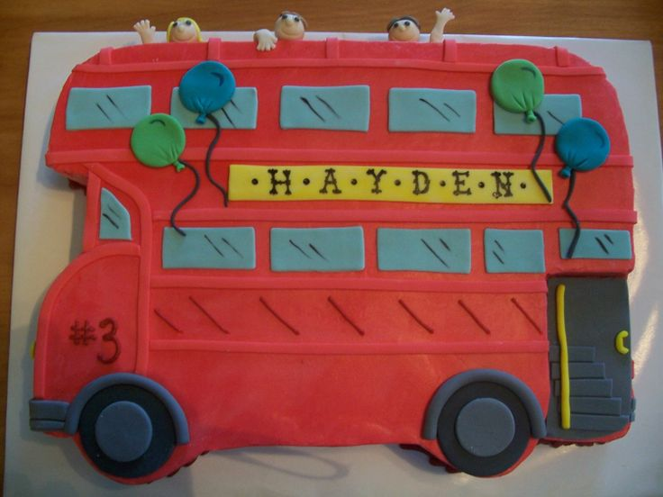 Double Decker Bus - This cake was made for a little boy in Oxford, Mississippi. He had a double decker bus party with face painting and a ride on the town's double decker bus.