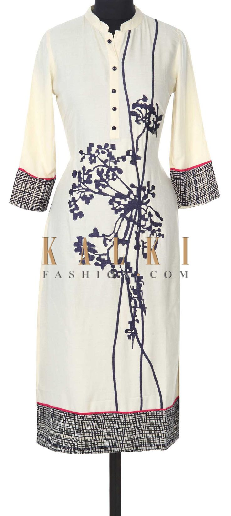 Buy this Cream kurti adorn in resham and checks print only on Kalki