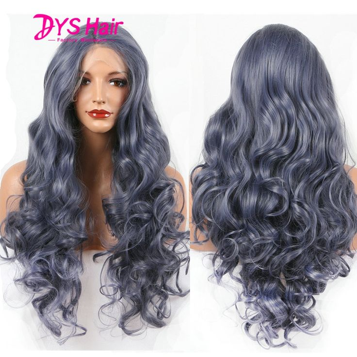 (44.39$)  Watch here  - Fashion Natural Wave Curly Synthetic Lace Front Wig Dark Blue GluelessTitanium Heat Resistant Synthetic Hair Women Wigs Perucas