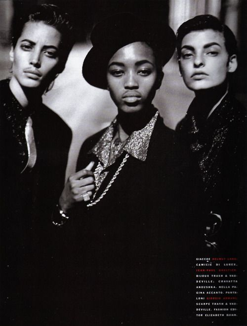 """Stile Gangster"", Vogue Italia, February 1991Photographer : Peter LindberghModels : Christy Turlington, Naomi Campbell & Linda Evangelista"