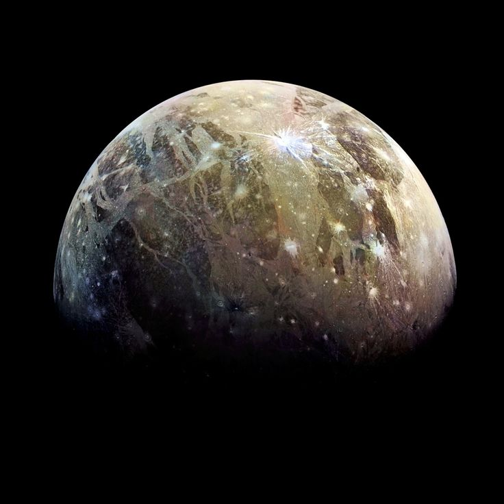 Ganymede...  Jupiter's largest moon, and for that matter, it is the largest moon in the Solar System.  It is slightly larger than the planet, Mercury.  Ganymede orbits Jupiter about once every week.