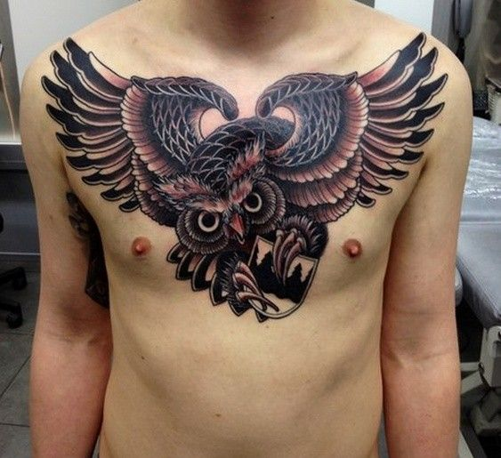 17 best ideas about owl tattoo chest on pinterest owl for Chest mural tattoos