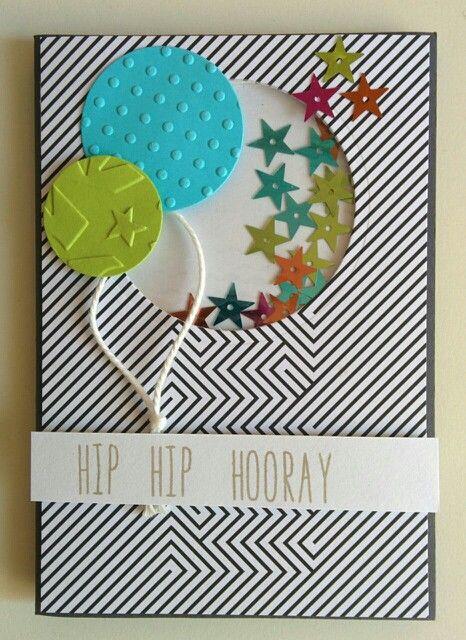 """Tarjeta globos para reto """"Shaker"""" de la marca www.laparejacreativa.com/blog"""
