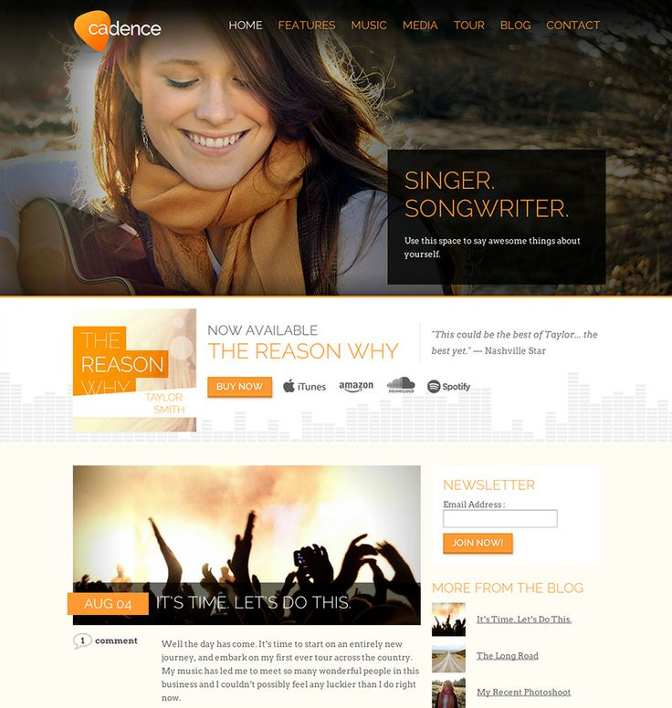 #Wordpress Music Theme Cadence #landing page #webdesign