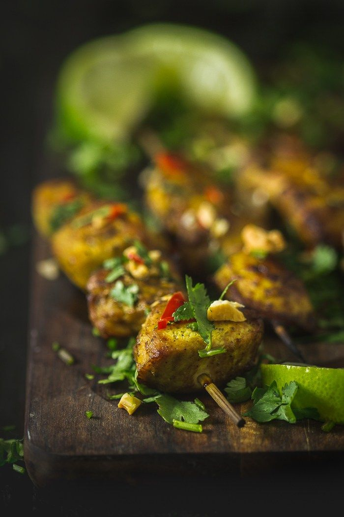 Marinated Chicken satay skewers + sweet ∕∕ savoury ∕∕ utterly delicious cashew and coconut sauce = foodie fireworks!