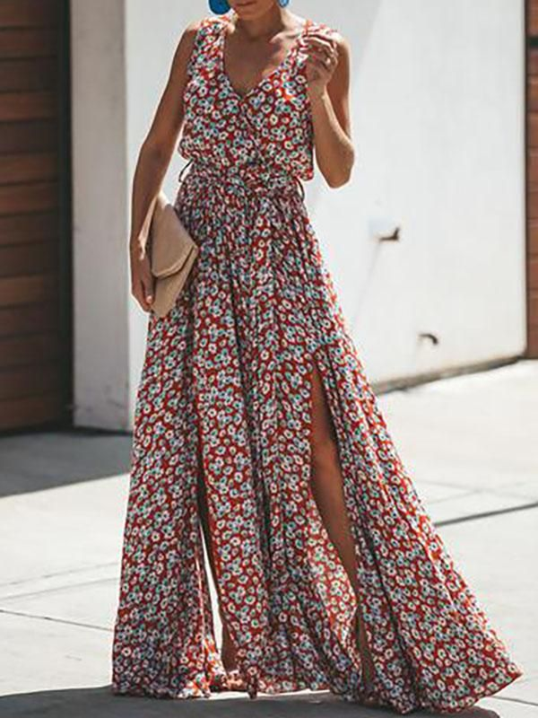 b280b24334 Floral Belted Split-side V-neck Maxi Dress in 2019 | My Style ...
