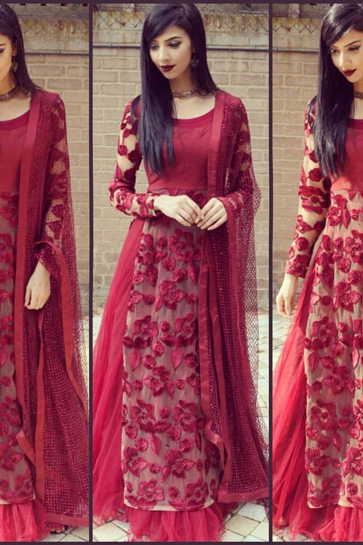 Rumena Special: Burgundy floral lehenga #indianfashion #saree #anarkali…